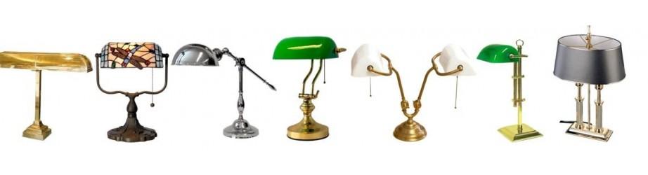 Klassieke Bureau Lampen, Notarislamp, Green Banker lamp, Tiffany Butterfly